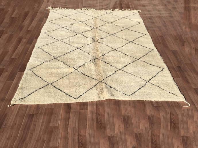 gorgeous tribal handmade beni ourain authentic moroccan rug teppich tapis 310cm - Tapis Beni Ouarain
