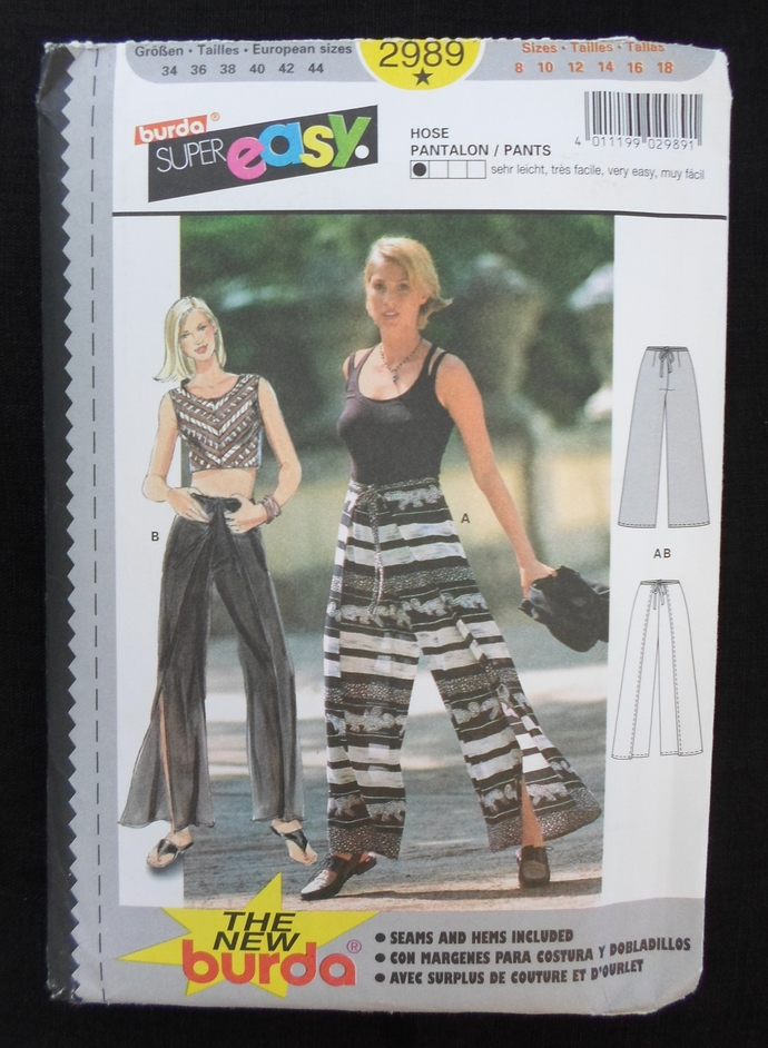 Burda Super Easy 2989 Misses semi fitted wrap pants, sizes 8 to 18, easy breezy