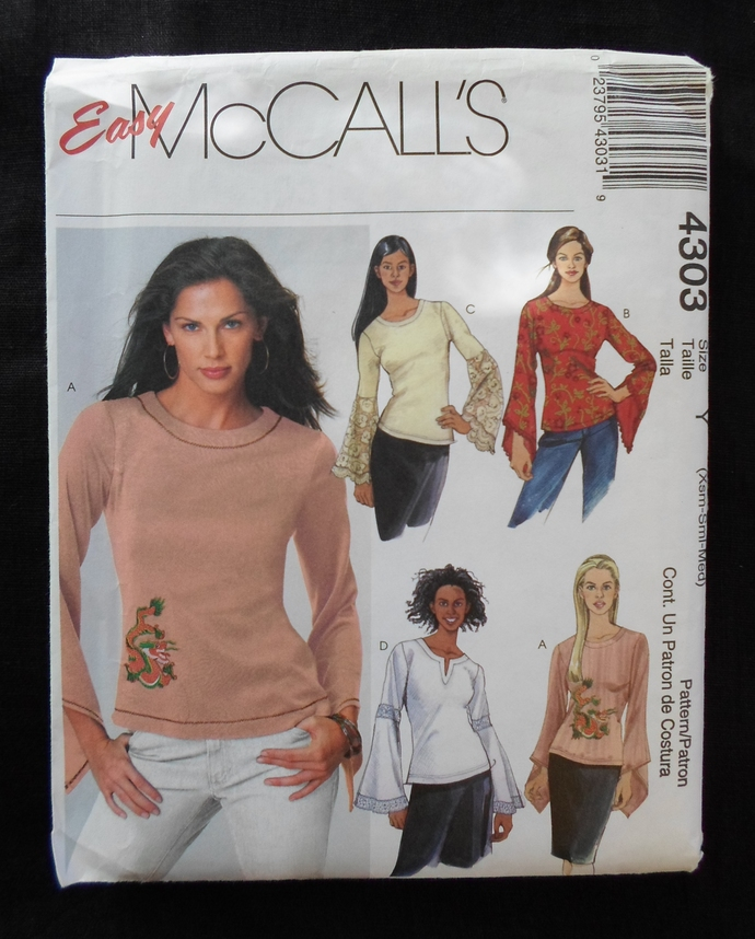 McCall's 4303 OOP Vintage Misses/Misses Petite tops with long bell sleeve and