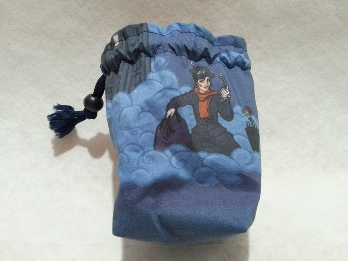 Nanny Who! Mary Poppins and the TARDIS Fabric RPG Gamer's Dice Bag or Wristlet