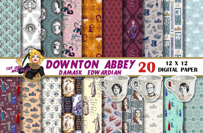Downton Abbey Digital paper, Downton Abbey clipart, Downton Abbey party, Violet