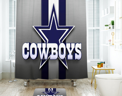 Dallas Cowboys Shower Curtain 72w X 72h With Bath Mat 40x60cm