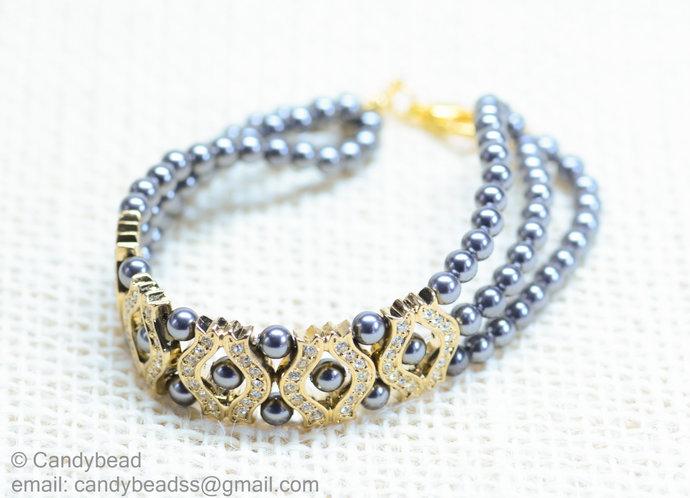 Size 7 to 8 inches; Swarovski bracelet; Glass bracelet;crystal bracelet;Pearl