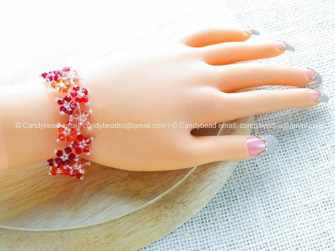 Crystal Bracelet; Swarovski Bracelet; Glass Bracelet; Sweet Red Multiflora