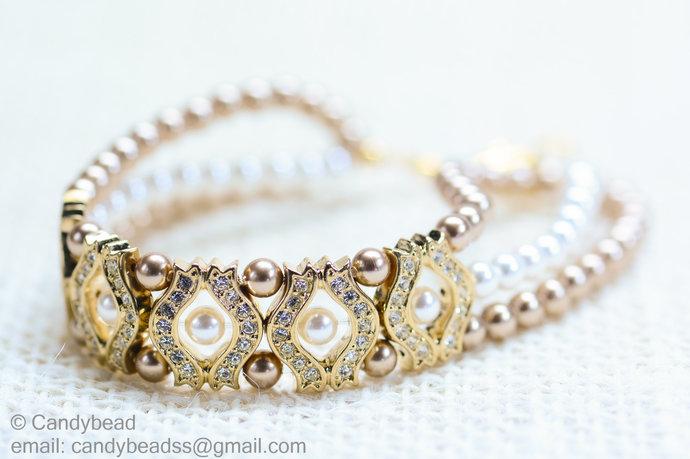 Crystal Bracelet; Swarovski Bracelet; Glass Bracelet; Swarovski Pearl Bracelet,