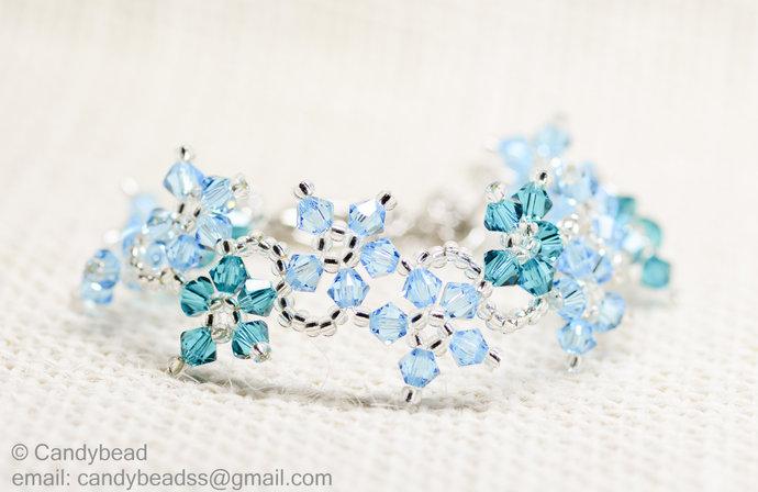 SALE; Size 7 to 8 inches; Swarovski bracelet; Glass bracelet; Aqua Blue