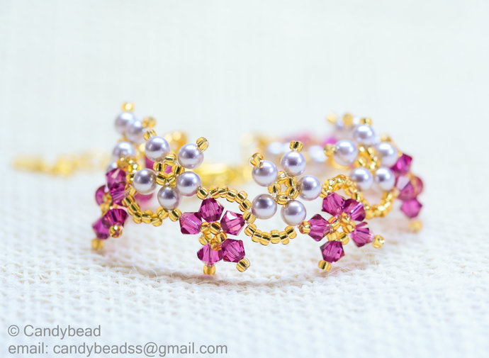 SALE; Size 7 to 8 inches; Shocking Pink Splendid Swarovski Crystal Cuff Bracelet