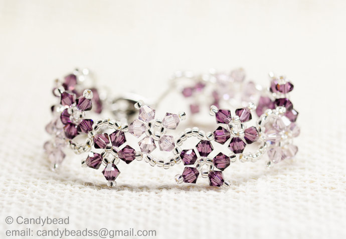 SALE; Size 7 to 8 inches; Swarovski Bracelet; Crystal Bracelet; Sweet Purple
