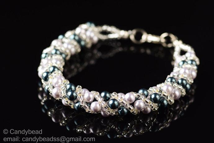 Sale Size 7-8 inches, Swarovski Bracelet; Crystal Bracelet; Lavender and Green