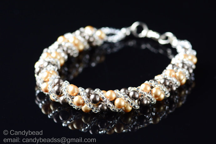 Sale Size 7-8 inches, Swarovski Bracelet; Crystal Bracelet; Brown and Bright