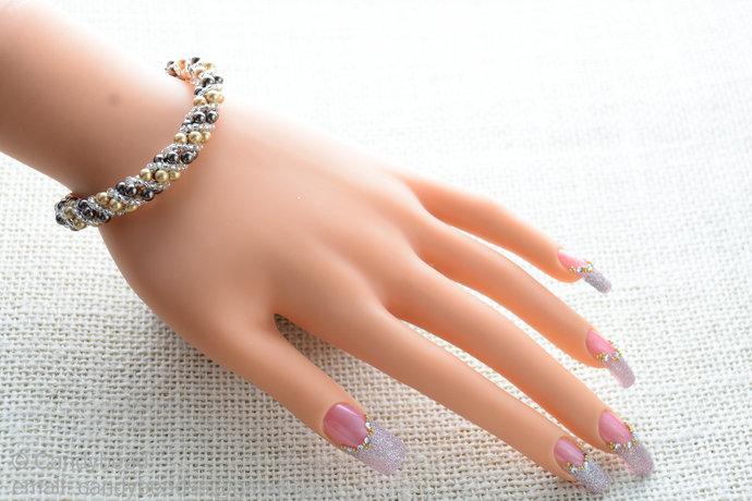 Sale Size 7-8 inches, Swarovski Bracelet; Crystal Bracelet; Brown and Bright