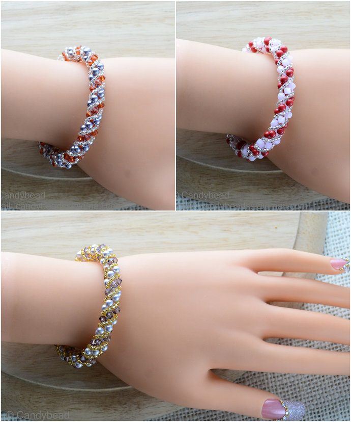 Sale Size 7-8 inches, Swarovski Bracelet; Crystal Bracelet; Copper and Almond