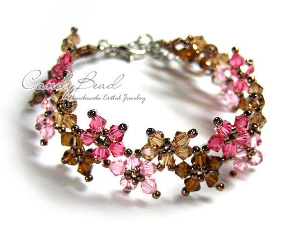 SALE; Size 7 to 8 1/2 inches; Crystal Bracelet; Swarovski Bracelet; Sweet Brown