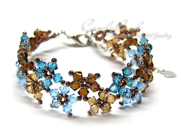 SALE; Size 7 to 8 1/2 inches; Swarovski Bracelet; Crystal Bracelet; Sweet Brown