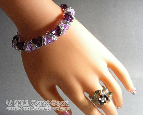 SALE; Size 9 to 9 1/2 inches; Swarovski Bracelet; Crystal Bracelet; Glass