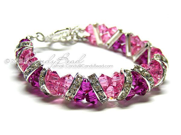 SALE; Size 5 1/2 to 6 1/2 inches; Swarovski Bracelet; Crystal Bracelet; Glass