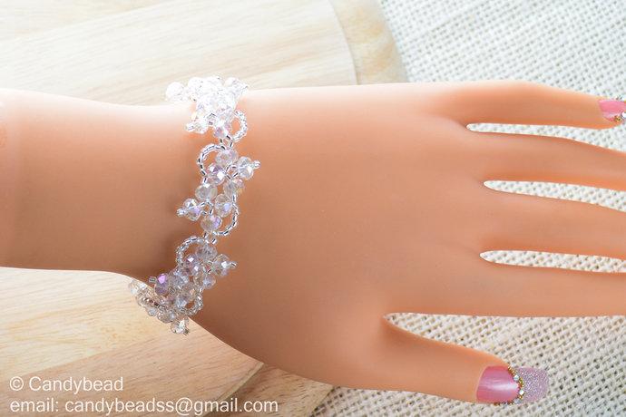Size 7 inches Swarovski Bracelet  Crystal Bracelet  Glass Bracelet  Flower  Ice 8c4f97d352d8