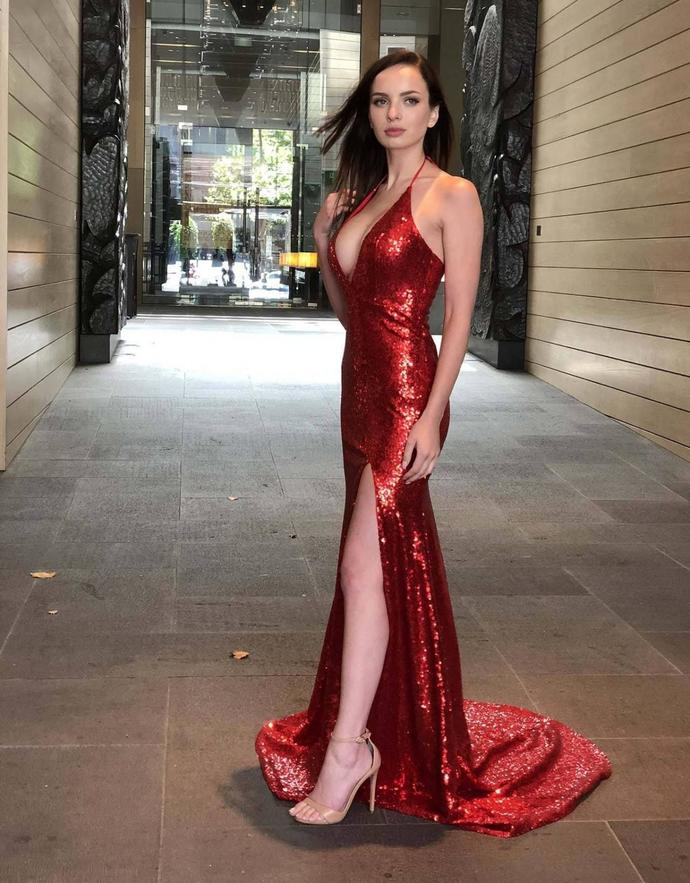 3c2d1aa3 V Neck Halter Red Sequins Prom Dresses Open Back Formal Dress Ball Gown