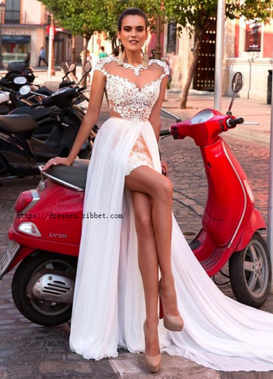 Glamorous Tulle Wedding Dress,Chiffon Bateau Neckline Bridal Dresses,See-through