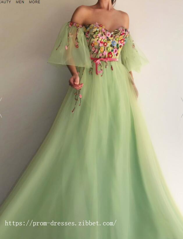 257bb324dc9 by prom dresses. Charming Sweetheart Neckline,Sexy Off Shoulder ,Short  Flare Sleeves,A Line Prom
