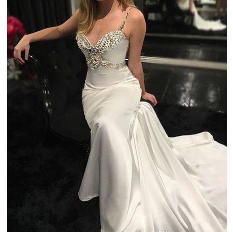 Modern Spaghetti Straps Wedding Dress,Mermaid Wedding Dresses, Satin Backless