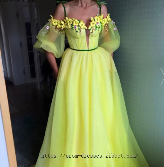 e836919e917 Sexy Off Shoulder Spaghetti Straps ,Short Puff Sleeves,A Line Prom Dress ,  Floor