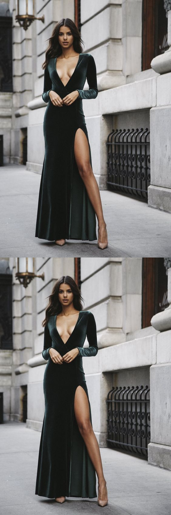 Popular Dark Green Prom Dress,Long Sleeves Party Dress,Deep V-Neck Sexy Prom