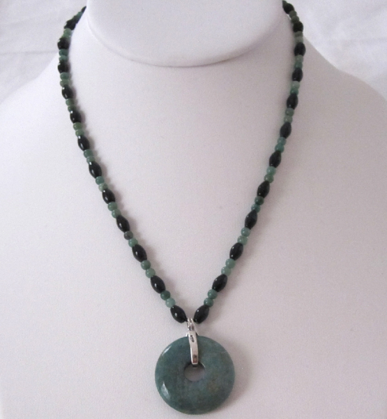 "16"" Black Obsidian & Jade Donut Necklace"