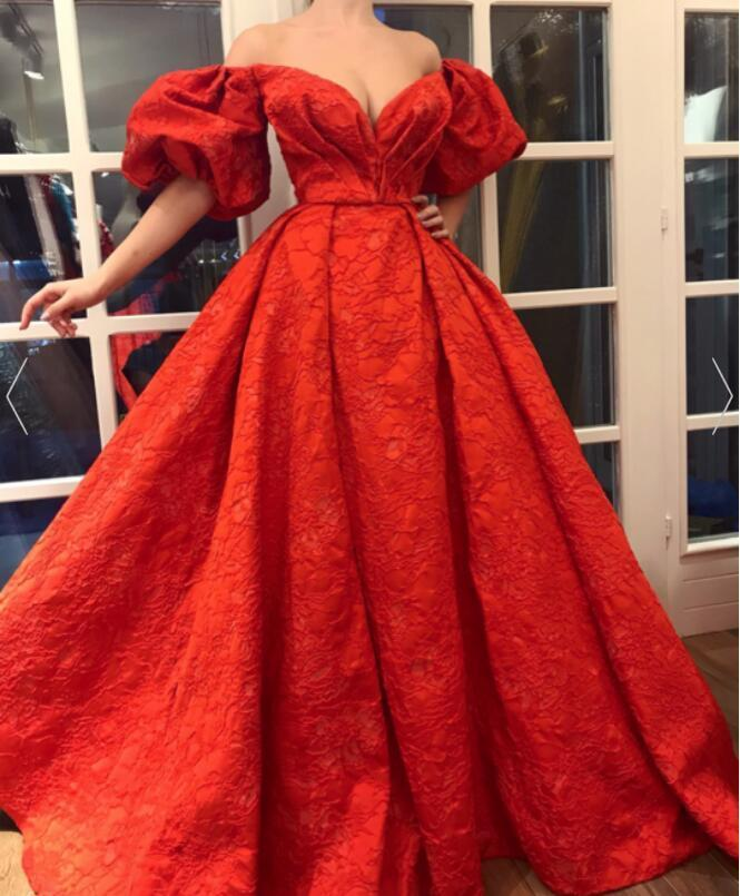 Charming V Neckline,Sexy Off Shoulder ,Puff Sleeves,A Line Prom Dress , Floor