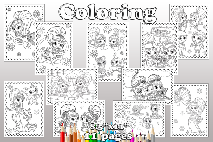 Shimmer and Shine Birthday Party, Shimmer and Shine coloring pages, Shimmer and