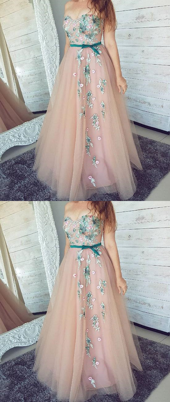 9ee3e0ee0 Pink Sweetheart Neck Tulle Lace Applique Long Prom Dress,Pink Evening Dress