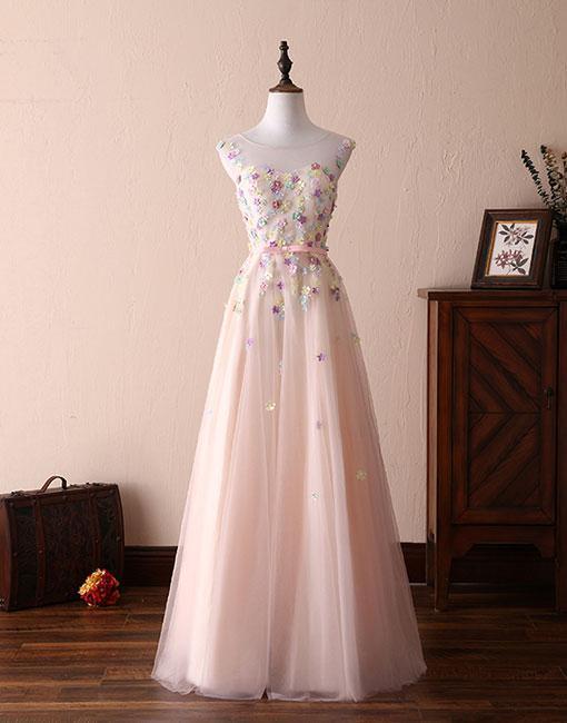 Cute round neck flowers long prom dress, evening dress  BD844