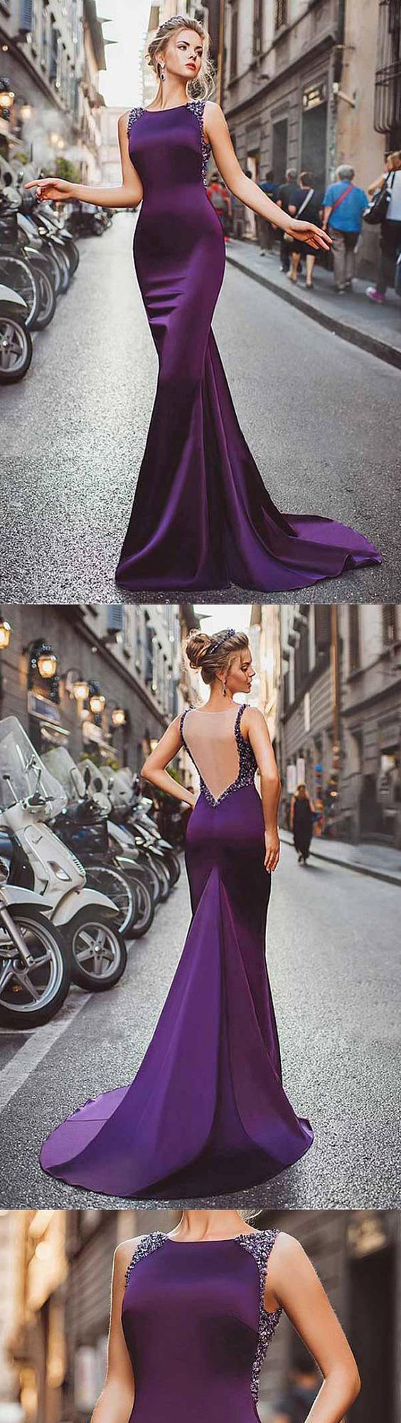 Sexy Mermaid Bateau Backless Purple Prom/Evening Dress With Beading
