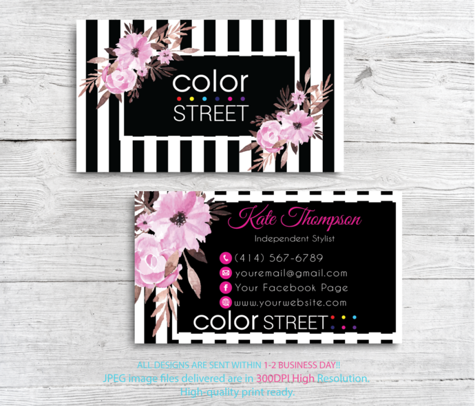 Personalized Color Street Business Cards, Color Street Business Cards, Color