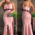 Charming Mermaid Sweetheart Petals Neck Slit Pink Long Prom Dresses with