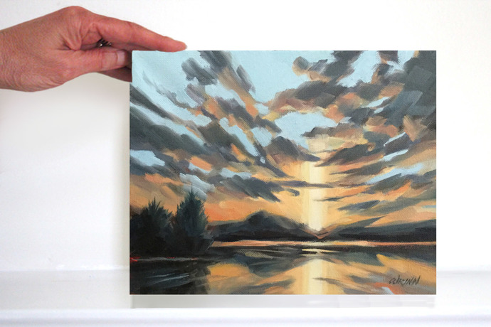 Lake Painting or Seascape of a Dramatic Sunset 8x10 inches oil on Canvas, Wall
