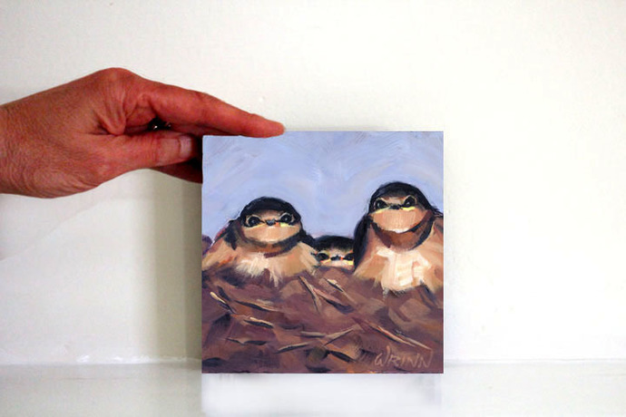 "Barn Swallow Oil Painting 5x5""  Bird Art, Bird Watcher Painting Ready for"