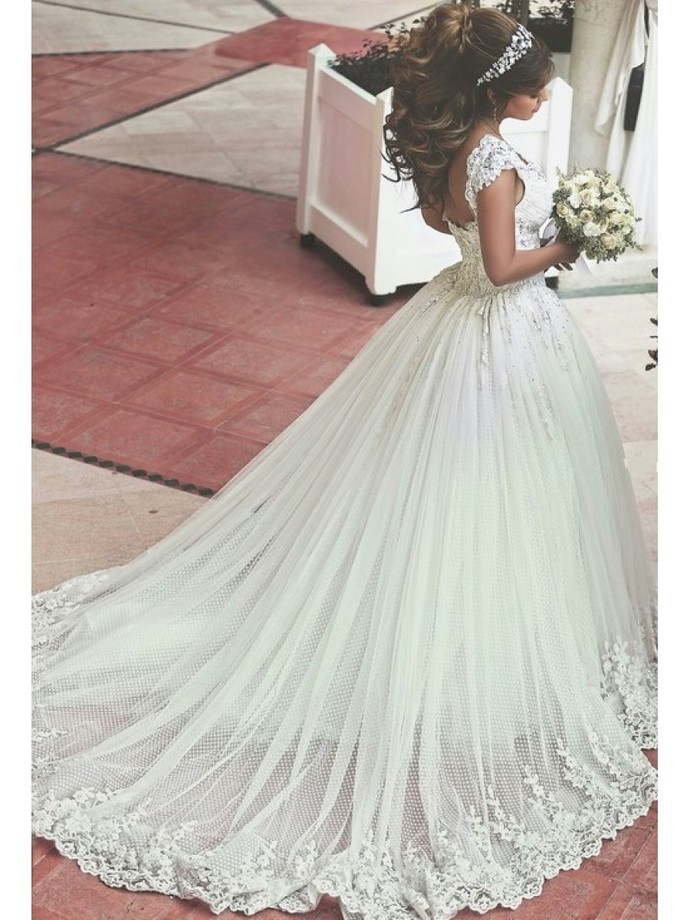 Lace Tull  Beaded Lace Straps Sleeveless Wedding Dresses Bridal Gowns