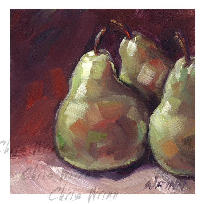 Kitchen Art Pears Oil Painting 5x5 inches Home Decor, Food Art