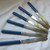 Vintage Blue handled dessert knives / boxed set of knives