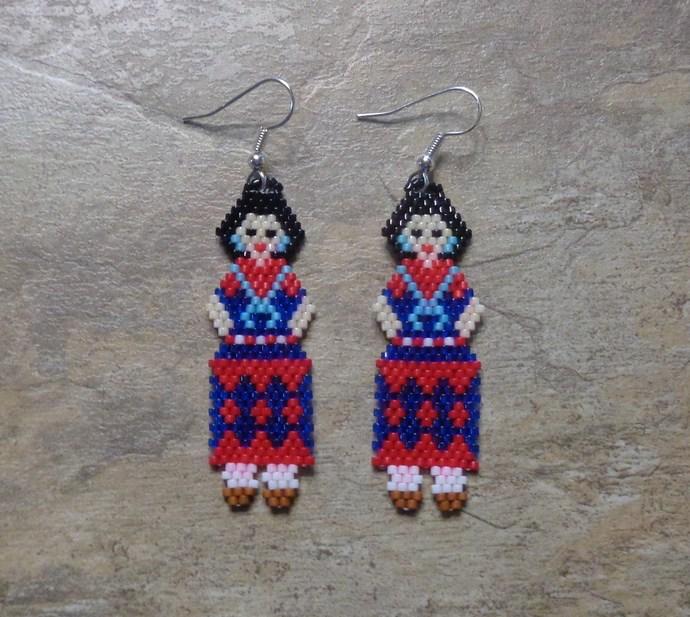 Maiden Earrings Hand Made Seed Beaded Bead Work