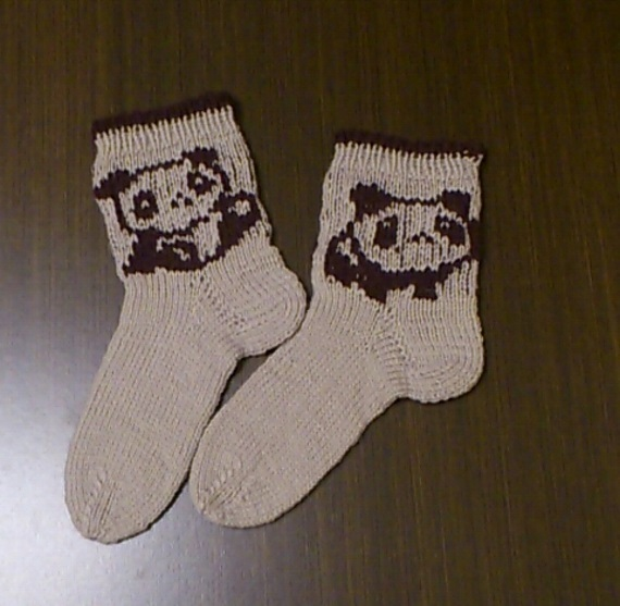 Panda socks, Kids' panda wool socks, baby knit socks, grey children's socks,
