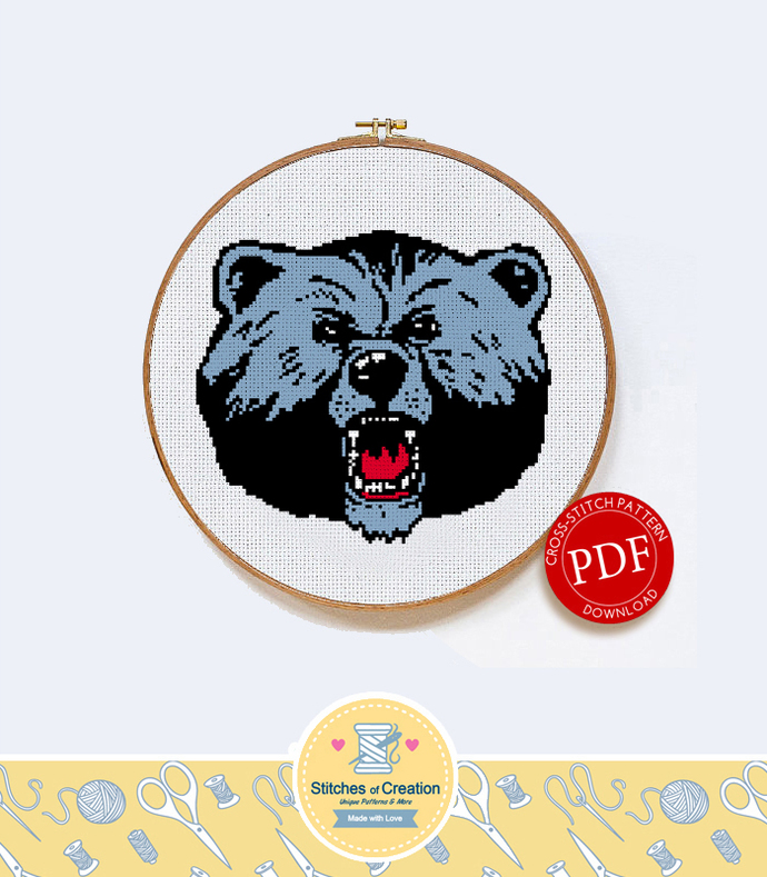 Livingstone College Blue Bears | Digital Download | Sports Cross Stitch Pattern