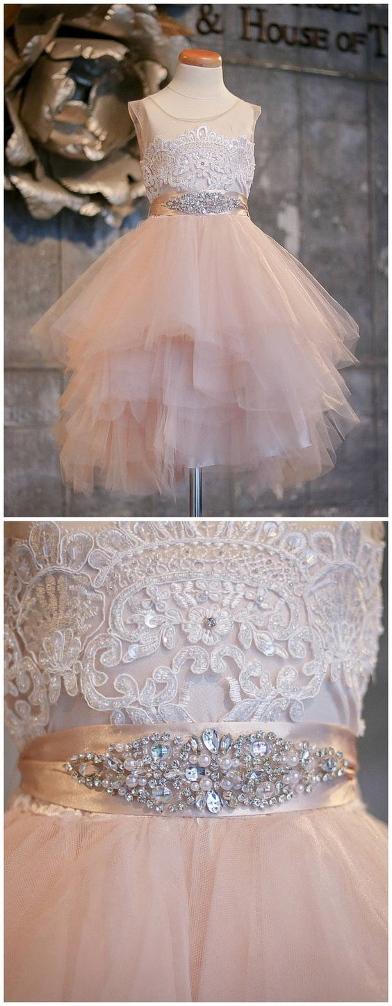 Blush Pink Flower Girl Dresses Asymmetric Tulle Lace Top Cute Dress for Kids