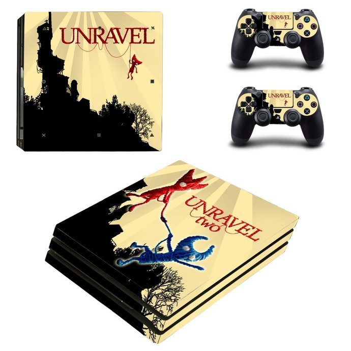 Unravel Two PS4 PRO edition skin Sticker decal Console and controllers