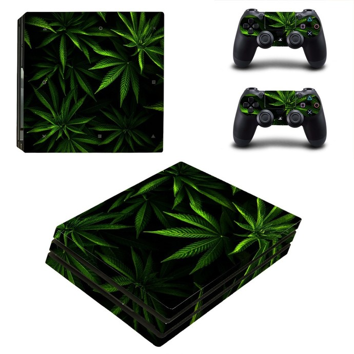 Weed leaves PS4 PRO edition skin Sticker decal Console and controllers