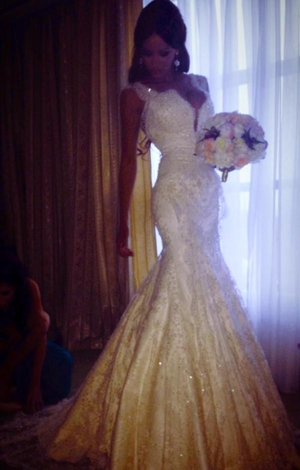 Sexy V Neck Cap Sleeves White Mermaid Lace Long Wedding Dresses,mermaid Wedding