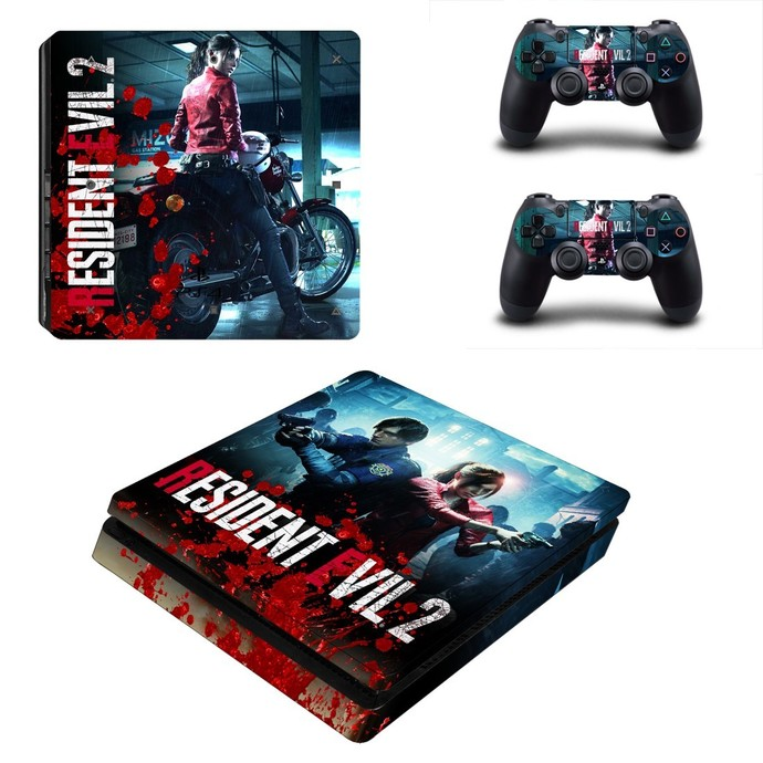 Resident Evil 2 ps4 slim skin decal for console and controllers