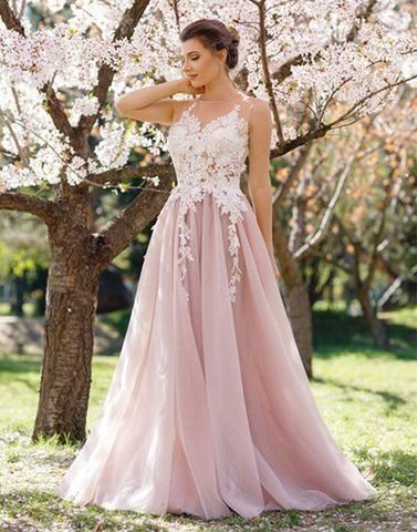 pink lace applique long prom dress, evening dresses,A-Line Evening Dress