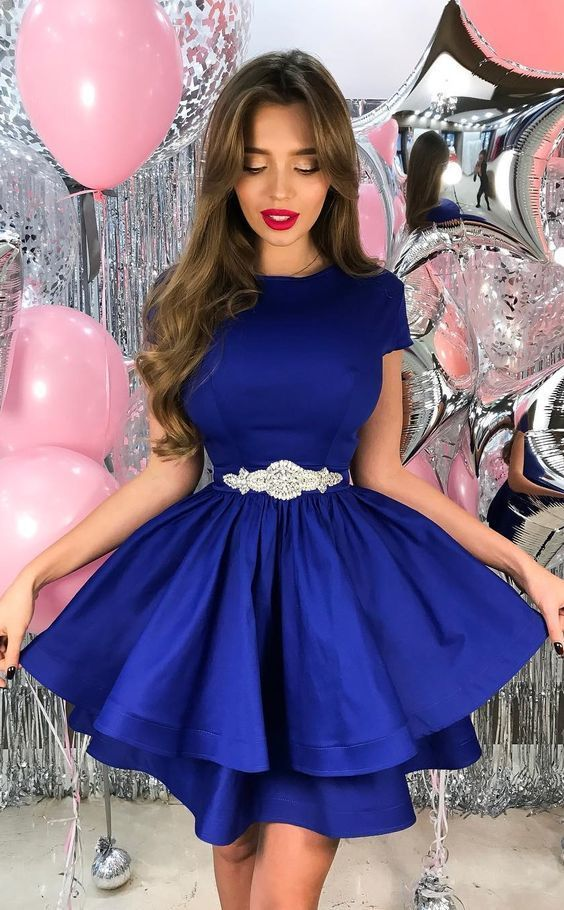 A-Line Crew Short Homecoming Dress,Royal Blue Tiered Homecoming Dresses,Satin